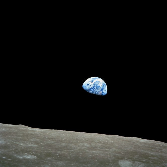 Our Pearl of a Planet seen from our satellite, the Moon